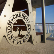 Mount Pleasant town seal on bench at waterfront by The Digitel on Flickr