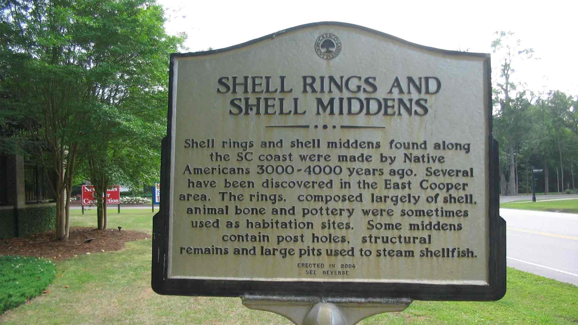 Historical Marker for shell rings and middens in Mt Pleasant