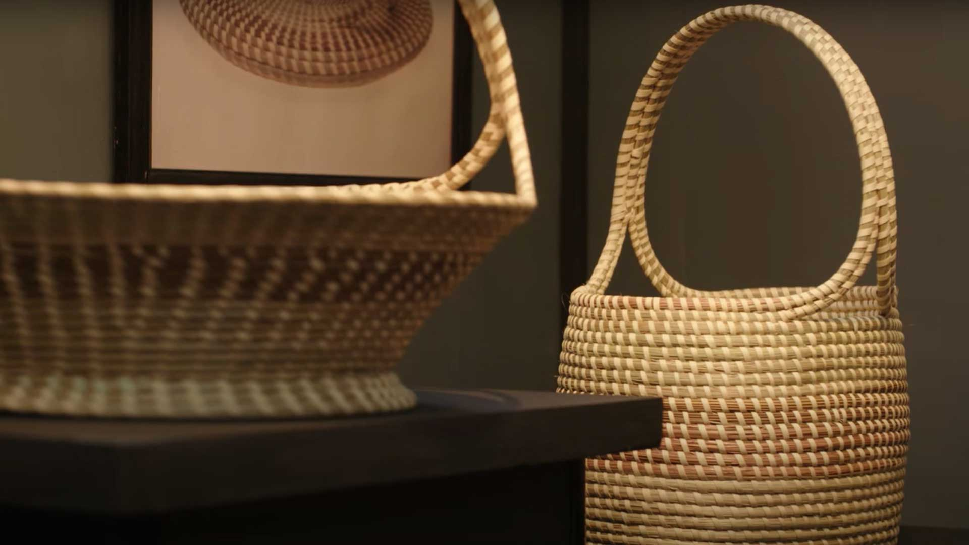 Artist Mary Jackson created these baskets which are in the Smithsonian Collection