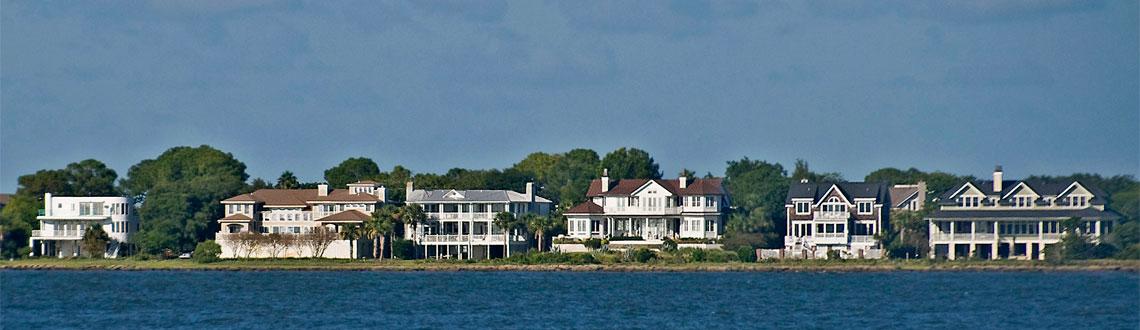 View of Mt. Pleasant waterfront from Charleston Harbor by Ron Cogswell
